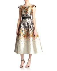 Sachin & Babi Noir Floral Confetti-Print Satin Dress - Lyst