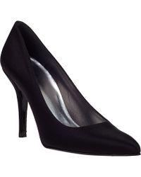 Stuart Weitzman Power Evening Pump Black Satin - Lyst