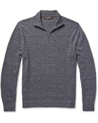 Loro Piana Melange Cashmere, Flax And Silk-Blend Sweater gray - Lyst