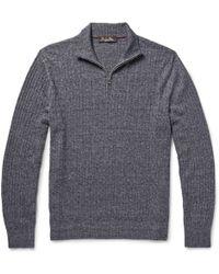 Loro Piana Melange Cashmere, Flax And Silk-Blend Sweater - Lyst