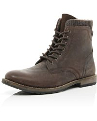 River Island Brown Leather Military Boots - Lyst