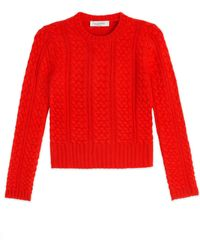 Valentino Cashmere Cable Knit Pullover - Lyst