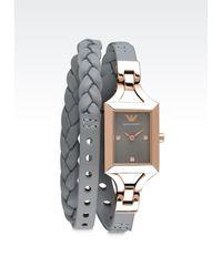 Emporio Armani Gray Watch - Lyst