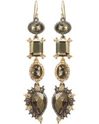 Alexis Bittar Crystal Studded Chandelier Gold-plated Earrings with Pyrite - Lyst