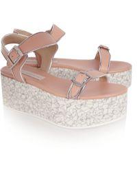 Stella McCartney Metallic-Trimmed Faux Leather Platform Sandals - Lyst