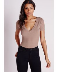 Missguided Ribbed V Neck T Shirt Taupe - Lyst