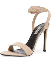 Balenciaga Ankle Strap Suede Heels beige - Lyst