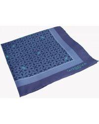 Tateossian - Armenian Patterned Silk Pocket Square In Blue - Lyst