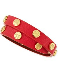 Tory Burch Logo-studded Double Wrap Leather Bracelet - Lyst