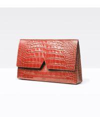 ysl shopping tote - Saint laurent Grain 5/6 Croc-stamped Flap Clutch Bag in Black | Lyst