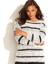 Calvin Klein Striped Eyelash-knit Sweater - Lyst