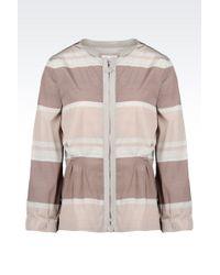 Armani Pea Coat In Striped Technical Fabric - Lyst