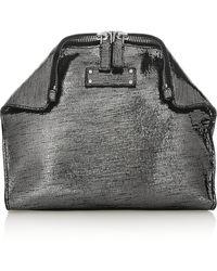 Alexander McQueen De Manta Metallic Texturedleather Cosmetics Case - Lyst