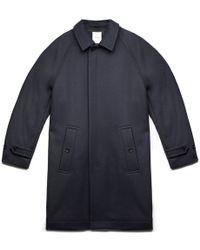 WOOD WOOD   Navy Wool Overcoat   Lyst