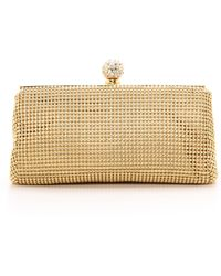 Whiting & Davis Crystal Ball Clutch - Gold - Lyst