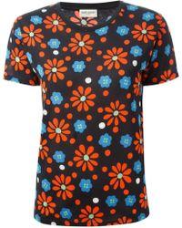 Saint Laurent Floral Print T-Shirt - Lyst