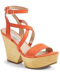 Diane von Furstenberg 'Lamille' Leather Platform Wedge Sandal - Lyst