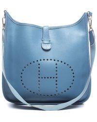 Hermes Pre-owned Blue Jean Courchevel Leather Evelyne Pm Bag - Lyst