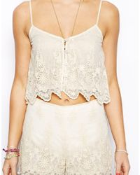 Asos Exclusive Embroidery Mesh Cami - Lyst