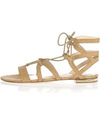 River Island | Beige Caged Lace-up Gladiator Sandals | Lyst