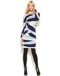 Inc International Concepts Zippered-sleeve Printed Sweater Dress - Lyst
