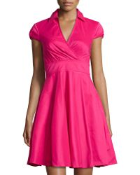 Betsey Johnson Cap-Sleeve Fit-And-Flare Shirtdress pink - Lyst