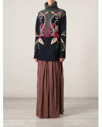 Tory Burch Long Floral Motif Sweater - Lyst