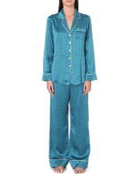 Olivia Von Halle Printed Silk Pajama Set - Lyst