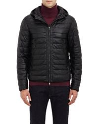 Moncler Quilted Leather Hooded Jacket black - Lyst