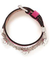 Alexander McQueen Skull Chain Double Wrap Leather Bracelet - Lyst