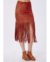 Missguided Faux Suede Fringe Midi Skirt Rust - Lyst