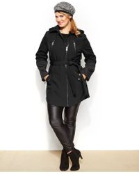 Betsey Johnson - Plus Size Hooded Faux-Leather-Trim Belted Coat - Lyst