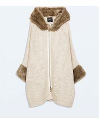 Zara Fur Jacket with Hood - Lyst