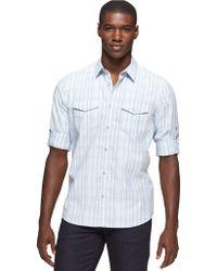 Calvin Klein Plaid Roll Sleeve Shirt - Lyst