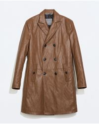 Zara Faux Leather Double-breasted Coat - Lyst
