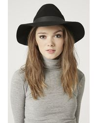 Topshop Wide Brim Pu Fedora Hat - Lyst