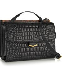Fendi Demi Jour Croceffect Leather Shoulder Bag - Lyst