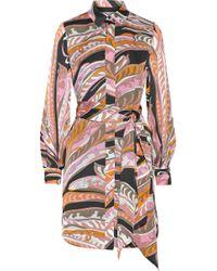 Emilio Pucci Printed Silksatin Shirt Dress - Lyst