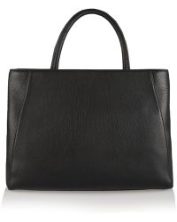 Halston Heritage Calf Hair-paneled Textured-leather Tote - Lyst