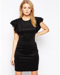 Y.A.S Ruffle Short Sleeve Black Dress - Lyst