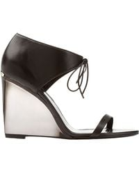 Burberry Leather Wedges With Transparent Heel - Lyst