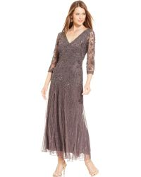 Pisarro Nights Threequartersleeve Beaded Gown - Lyst