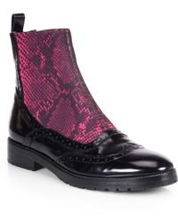 Christopher Kane Chelsea Snakeskinprinted Elastic Patent Leather Combat Boots - Lyst