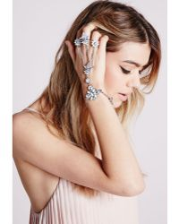 Missguided - Statement Triple Ring Hand Chain Silver - Lyst