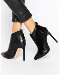 Lost Ink - Black Fringed Heeled Shoe Boots - Lyst