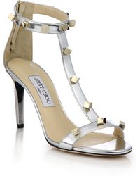 Jimmy Choo Lamba Studded Metallic Leather Sandals silver - Lyst