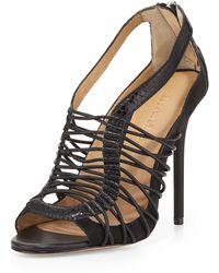 L.A.M.B. Raivyn Snake-Embossed Strappy Leather Sandal animal - Lyst