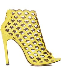 Akira Scale Cut Out Bootie in Lime - Lyst