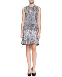 Rebecca Taylor White Noise Printed Layered Silk Dress - Lyst