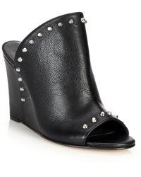 Stuart Weitzman | Upfrontal Studded Leather Wedge Mules | Lyst